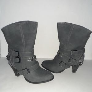 Not Rated Grey Studded Heeled Booties Size: 8.5
